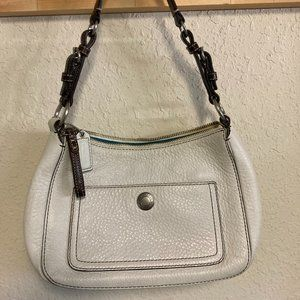 Coach White Pebbled Leather Hobo